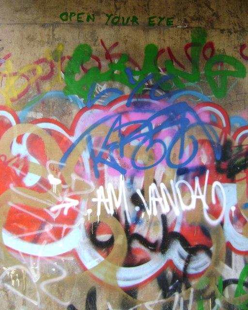 Graffiti under canal bridge