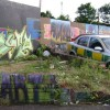 Legal graffiti, private road off Station Approach, Leamington Spa