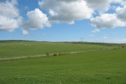 View across improved pasture land towards Rhyd-y-groes farm