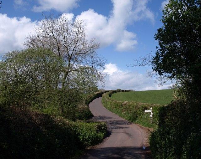 Lane junction near Crowcombe