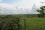 View south-eastwards across farmland
