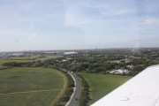 Overflying Queensway at 180 ft on short final Blackpool Airport