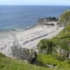 Footbridge and beach at Glen Maye