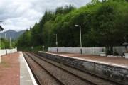 The Oban to Glasgow railway heading east out of Dalmally