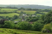 Parracombe church and surrounding countryside.