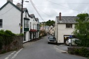 Ley's Lane leading into Parracombe with the Fox and Goose public house on the left.