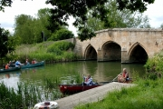 Canoeing at Radcot Bridge, Oxfordshire