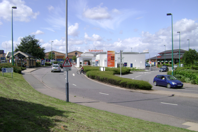 The Shires retail park, entrance/exit roads