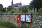 Hethe parish church with postbox