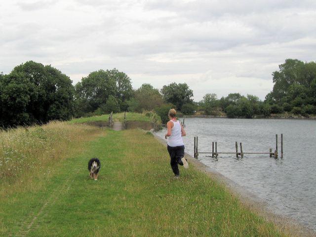 Running on the Dam at Tringford Reservoir