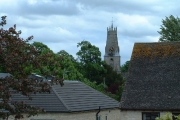 Church over the suburban roof-tops