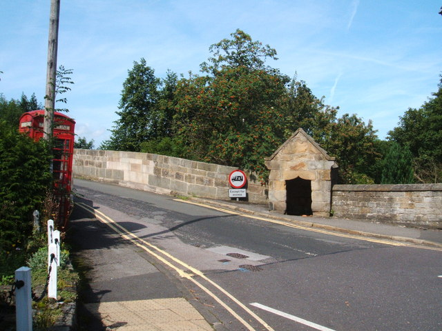 Bridge at Baslow, with toll booth and telephone box