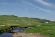 Bridge over the Conieglen Water & a view to the village of Southend