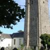 Llansteffan church - tower and  east end of churchyard