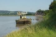 Derelict boat in the Severn muds at Garden Cliff