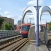 Midland Metro approaching Wolverhampton Terminus