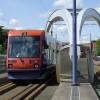 Tram crossing the Wishbone Bridge, Wolverhampton