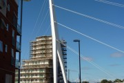 New pedestrian suspension bridge over the River Gipping