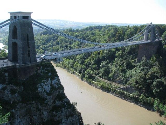 The Clifton Suspension Bridge crosses the Avon Gorge