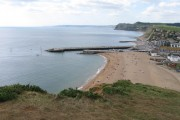 The beach and harbour at West Bay, Dorset.
