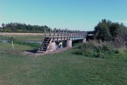 Footbridge over river with family of ponies taking shade underneath