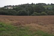 Headland of harrowed field by Shutterton Lane