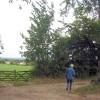 Walking by a farm gateway at Poulsden Lacey