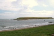 The strand at Ballyhornan with Guns Island in the background