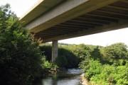 M4 Motorway Over River Ogwr in Bridgend
