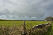 Barn, walls and field, near Sheldon