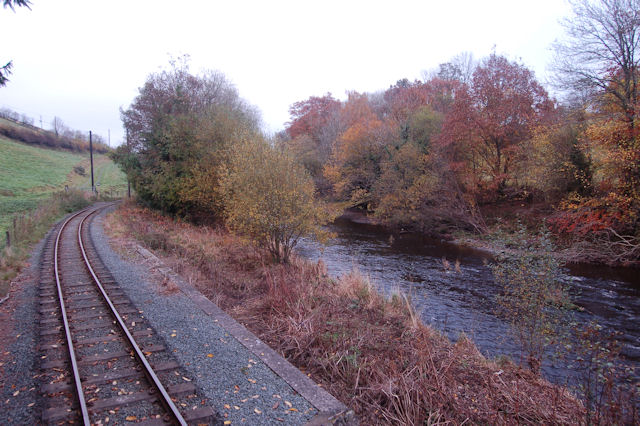 Afon Banwy by the railway