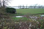 Waterlogged farmland bordering on the Menai Strait