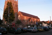 Whimple church and parking in The Square
