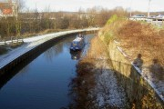 Santa  cruising in his boat on the Chesterfield Canal