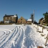 Houses at Pratthall, and footpath , with snow