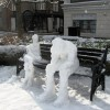Thinking about the snow storm – two snowmen in Church Square, Tring
