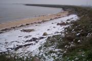 Snow covered beach near Allhallows-on-Sea