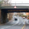 Looking east at the railway bridge over Rugby Road
