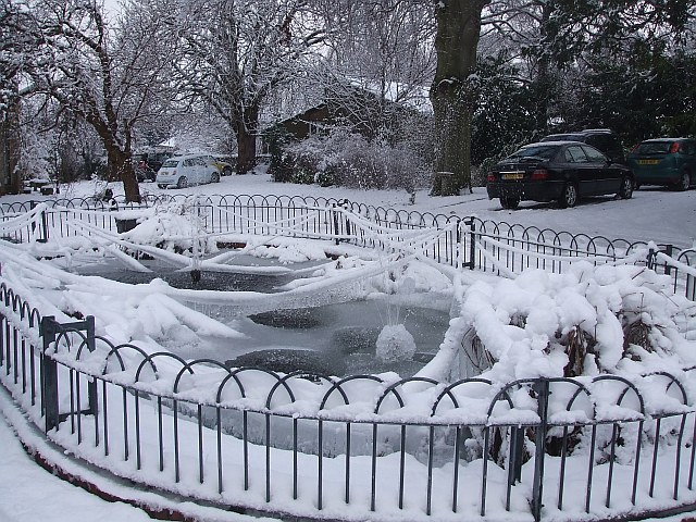 Frozen pond, Sutton Court, Tring