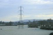Frosty field and pylon