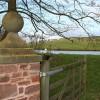 Red sandstone gatepost