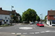 The centre of Liphook, with the Royal Anchor Hotel in the background.