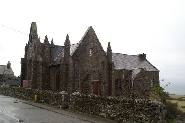 Church and, presumably, to the rear, former school, at Dalby