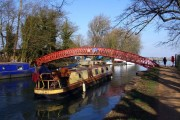 A barge going under Rainbow Bridge