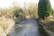 Afon Lwyd downstream from Caerleon Road, Ponthir
