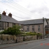 Cottage and village hall at Trelawnyd
