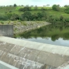 Dam wall and weir at Lower Lliw Reservoir