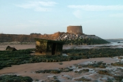 Martello Tower and an inverted Pilbox by the very eroded cliffs at East Lane, Bawdsey