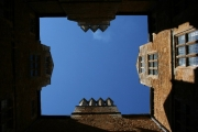 Looking up from Chastleton House courtyard.