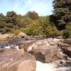 Waterfall on the Taff upstream of the disused railway bridge